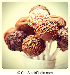 Cake pops retro photo - Cake pops with retro filter effect...