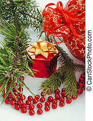 Christmas gift box - Christmas composition with red gift box...