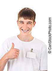 Teenager with Empty Badge - Happy Teenager with Badge on...