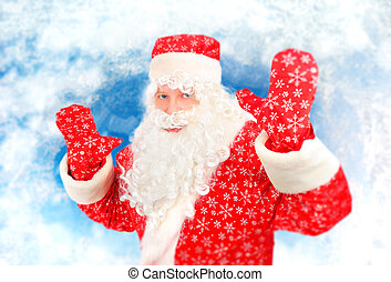 Happy Santa Claus - Cheerful Santa Claus with Hands Up on...