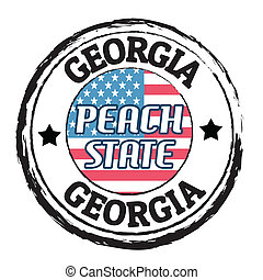 Georgia, Peach state stamp - Grunge rubber stamp with flag...