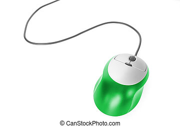 computer mouse over white background - green computer mouse...