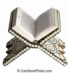 Opened Quran on reading table against a white background