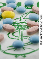 Concept of medicine, universal symbol of pharmacy in green...