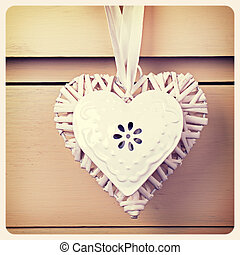 Tin and wicker heart retro - Wicker and tin heart hanging...