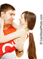 happy young couple over white