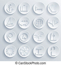 Vector travel icons set on blue background. Eps10