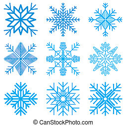 Nine original vector snow-flakes