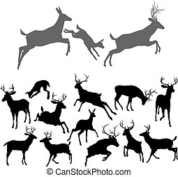 Deer Silhouettes - Deer silhouettes including fawn, doe...