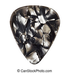 Guitar Plectrum - black guitar plectrum, isolated on white...