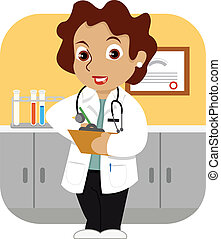 Doctor in the Office - A friendly female doctor with a...