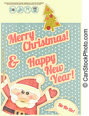 Retro Merry Christmas and New Years Card with Santa Claus...