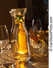 Glass on wedding table