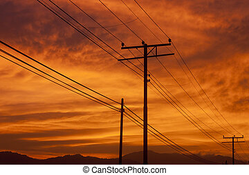 Silhouette of powerlines