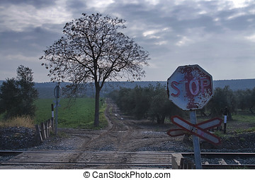 Old signs of level crossing without barriers, Spain