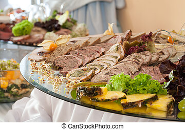Meat slices on wedding table