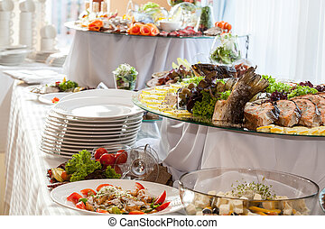 Catering at wedding reception - Catering, different colorful...