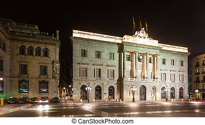 night view of city hall. Barcelona - night view of old city...
