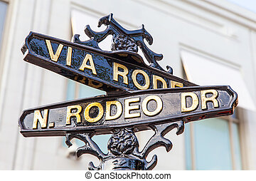 Rodeo Dr - Famous steetsigh of Rodeo Dr in Los Angeles, the...