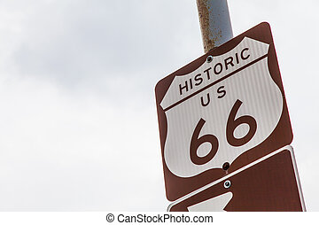Route 66 - Famous streetsight of Route 66 with copyspace