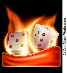 Two burning dices - Vector illustration of two burning...
