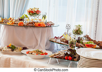 Wedding table with appetizers - Wedding table with different...