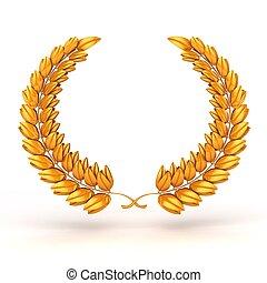 3D, dourado, troféu, laurel
