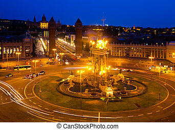 night view of Barcelona - night view of Plaza de Espana with...