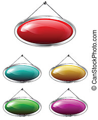 Oval tablets - Blank metallic banners hanging on the wall....