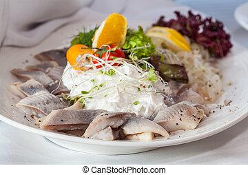 Herring salad on luxury table