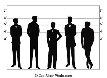 police lineup in silhouette