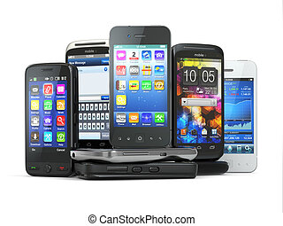 Choose mobile phone Pile of new cellphones 3d