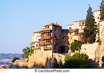 Sunny view of Hanging houses in Cuenca - Sunny view of...
