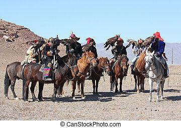 MONGOLIA - 25 JULY: The senior Mongolian horseman in...