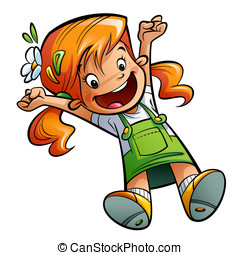 Happy cute cartoon orange hair girl jumping happily...