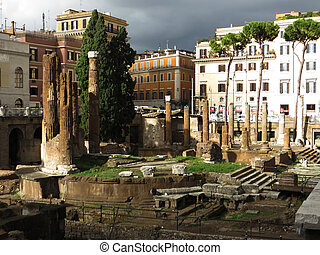 Largo Argentina in Rome - Ancient ruins at Largo Argentina,...