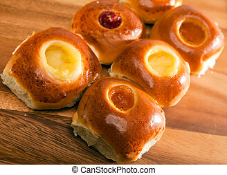 Rolls from yeast dough with jam