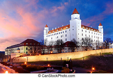 Bratislava castle at a colorful nice sunset