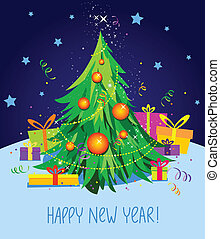 card with Christmas tree and gifts