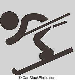 Winter sport icon - Downhill skiing