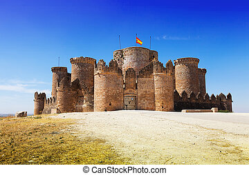 Main gate in Gothic Mudejar castle at Belmonte Cuenca, Spain...