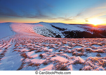 Winter mountains landscape at sunset - Slovakia - Fatra