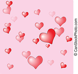 Valentine's day background with glossy hearts. Vector
