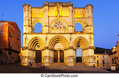 Evening view of Cathedral in Cuenca - Evening view of...