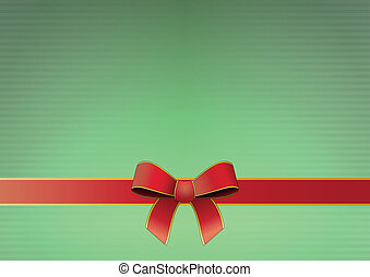 tied ribbon - illustration of silk tied ribbon with green...