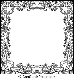 black and white floral vintage frame