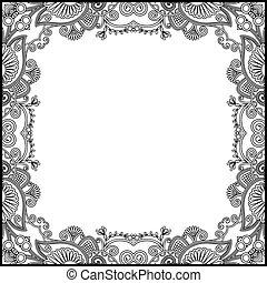 black and white floral vintage frame