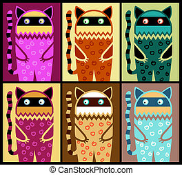 six colored fantasy cat pattern