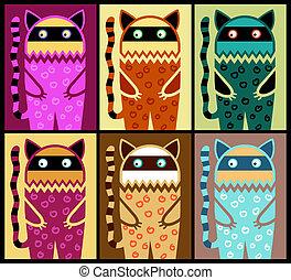 Seis, coloreado, fantasía, gato, patrón
