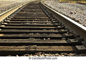 railroad tracks - closeup view of railroad tracks curving...